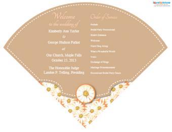 Fan-shaped wedding program