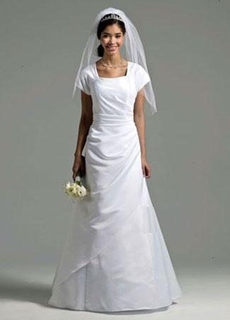 David's Bridal Short Sleeve Satin A-line Gown