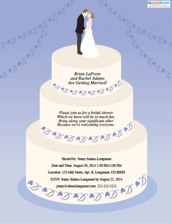 Wedding cake-shaped bridal shower invitation