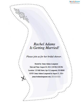 Veil-shaped bridal shower invitation