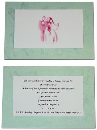 stamped bridal shower invitation