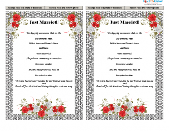 Printable Just Married! announcement with rose design