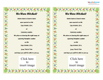 Printable We Were Hitched! wedding announcement