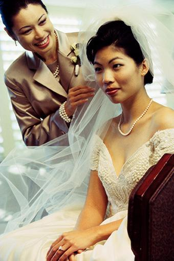 Mother of the bride together with bride