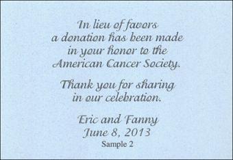 donation announcement card