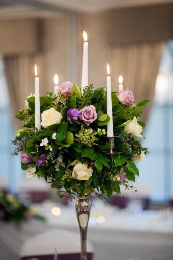 floral tapered candle centerpiece