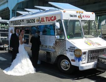 Bride at food truck