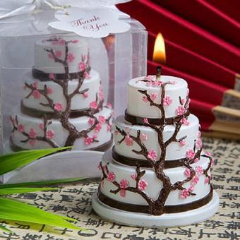 Cherry Blossom Design Cake Candle Favor