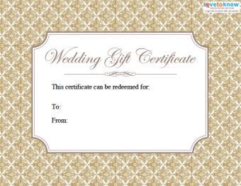 Printable wedding gift certificate