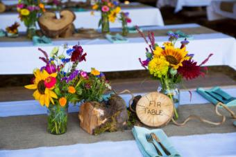 tree and floral centerpieces