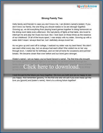 Strong Family Ties Speech