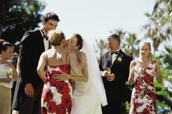 Bride and groom greeting guests