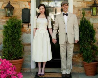 Tea-Length Ivory Wedding Dresses