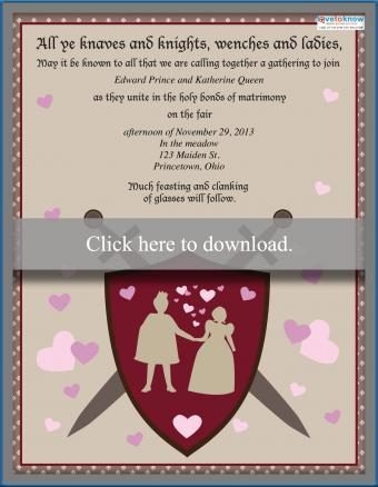 Medieval wedding invitation