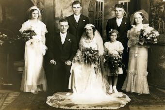 Old photograph of a wedding group