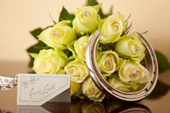 Wedding bouquet with horseshoe