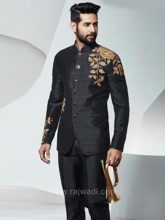 Raw Silk Bandhgala Jodhpuri Suit