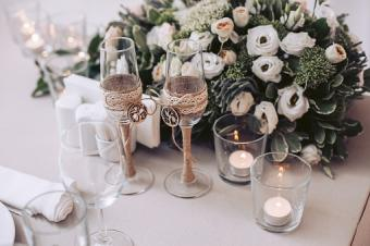 flowers and wedding glasses