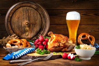 Oktoberfest display of food and drink