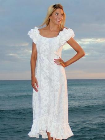 alohafunwear White Hibiscus Ruffle Shoulder Muumuu