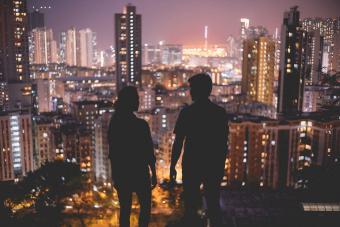 Enjoying night scenes of Hong Kong