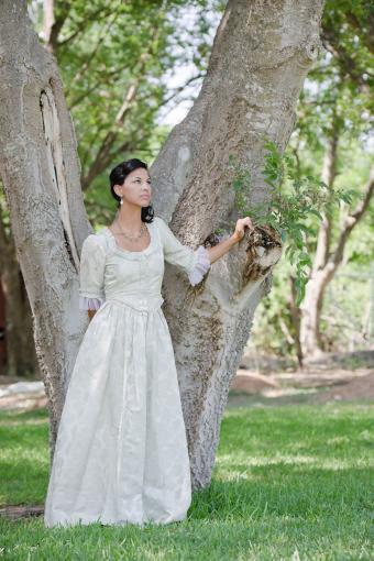 White Renaissance style wedding gown