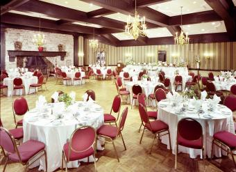 wedding hall with round table seating