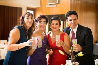 Family toasting at wedding reception