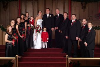 Black and red bridal party colors