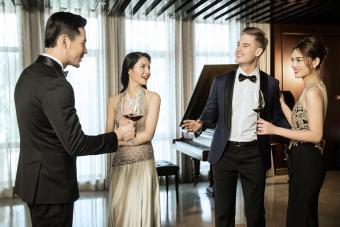 Guests in formal wedding attire