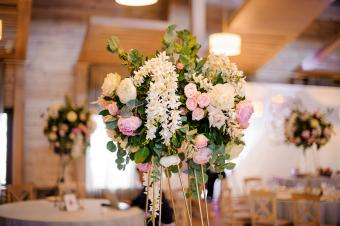 Wedding decoration with roses and peonies
