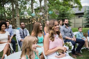 Guests sitting at informal wedding