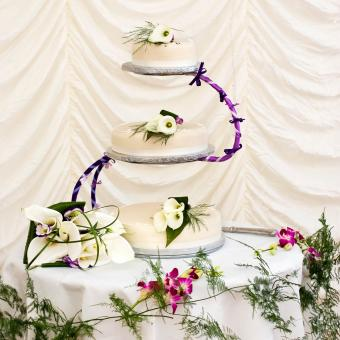 Wedding Cake Decorated with Calla Lilies