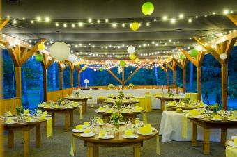 Twinkly lights at wedding reception