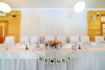 Fabric covers used in wedding decorations