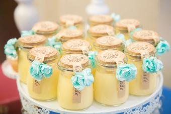 Tray of wedding favors