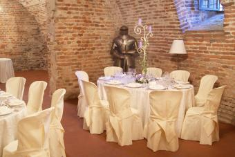 Wedding celebration inside a castle