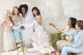Women having fun at a bridal shower