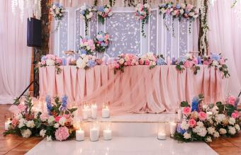 Pink wedding banquet table