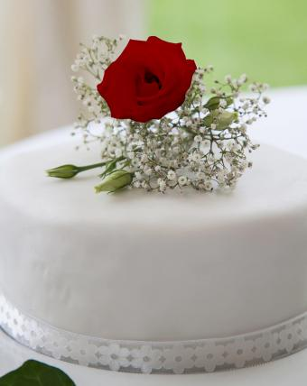 Single Red Rose Wedding Cake