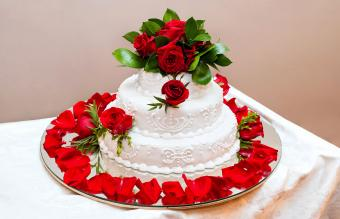 Three Tier Red and White Cake