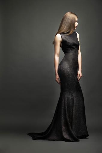 Glamour girl in black dress