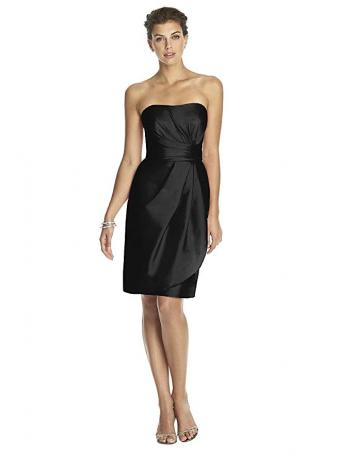Alfred Sung Dessy Women's Cocktail Length Strapless Peau De Soie Dress with Draped Detail