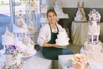 Baker with Wedding Cakes