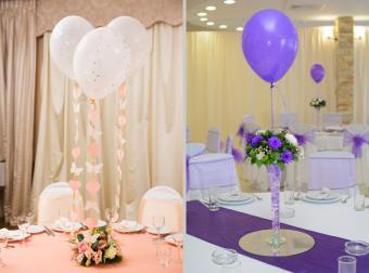 Wedding reception balloon decoration centerpiece