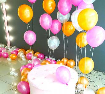 Colorful balloons decorating the floor