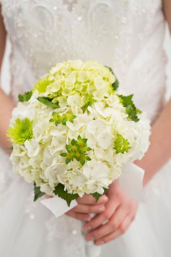 traditional white hydrangea wedding bouquet