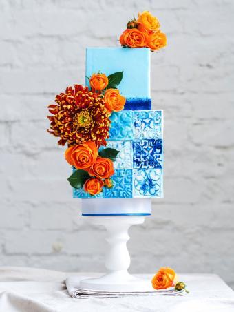 contemporary blue square wedding cake