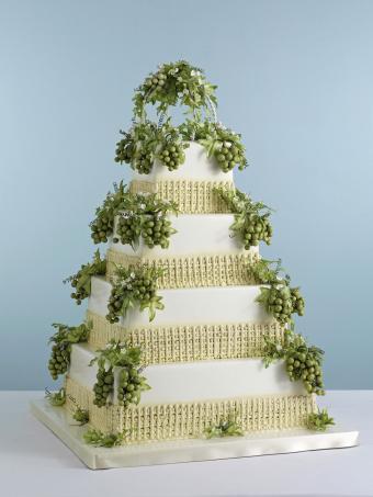 Wine themed square wedding cake