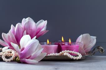 candle, magnolia, pearl decorations